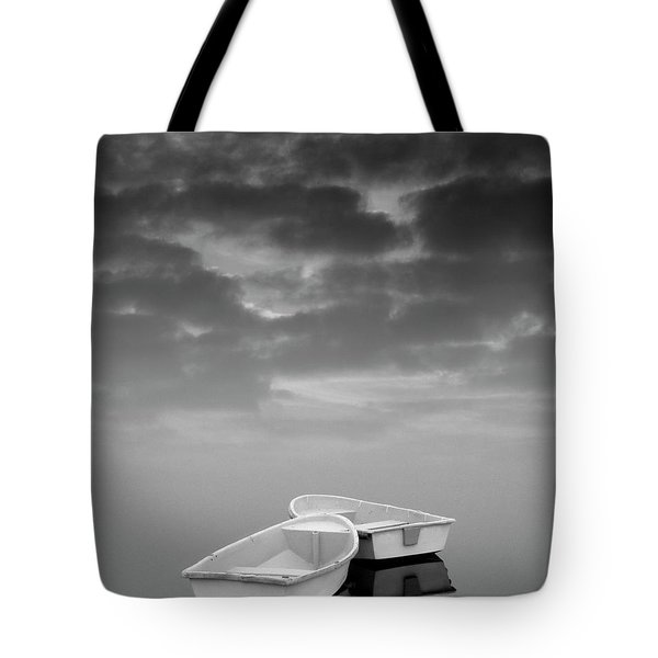 Two Boats And Clouds Tote Bag by Dave Gordon