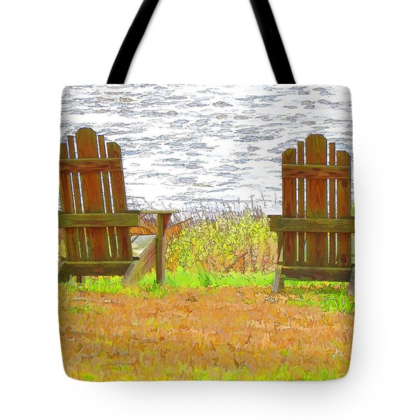 Two Chairs Facing The Lake Tote Bag by Lanjee Chee