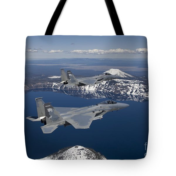Two F-15 Eagles Fly Over Crater Lake Tote Bag by HIGH-G Productions