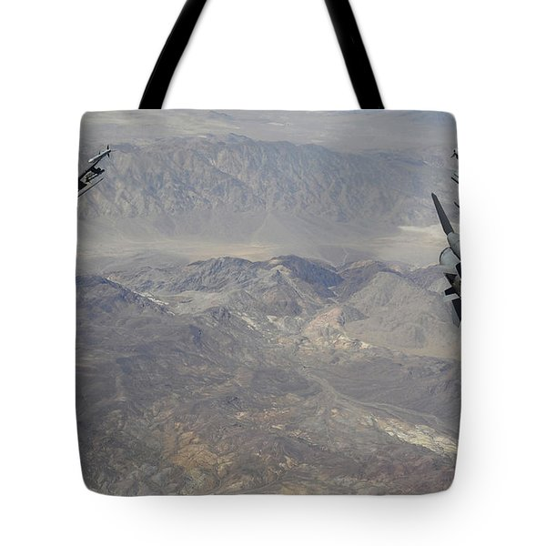 Two F-16 Fighting Falcons Break Tote Bag by Stocktrek Images