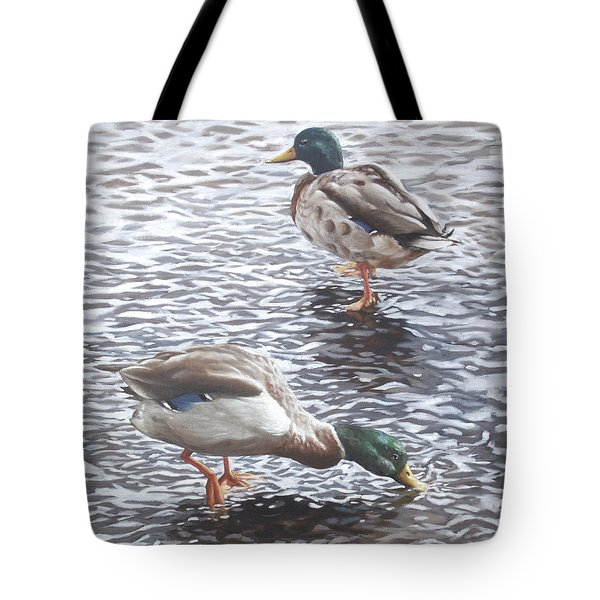 Two Mallard Ducks Standing In Water Tote Bag by Martin Davey