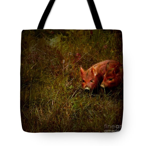 Two Piglets Tote Bag by Angel  Tarantella