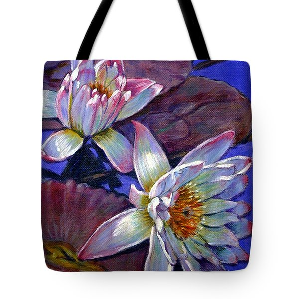 Two Pink Water Lilies Tote Bag by John Lautermilch