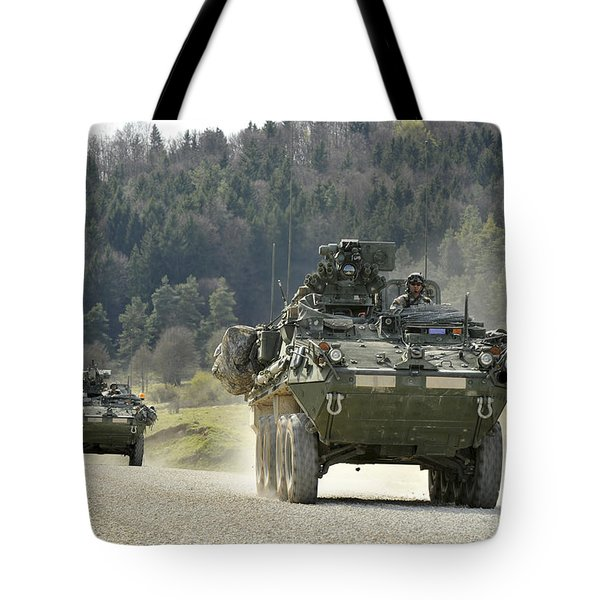 Two Stryker Vehicles At The Hohenfels Tote Bag by Stocktrek Images