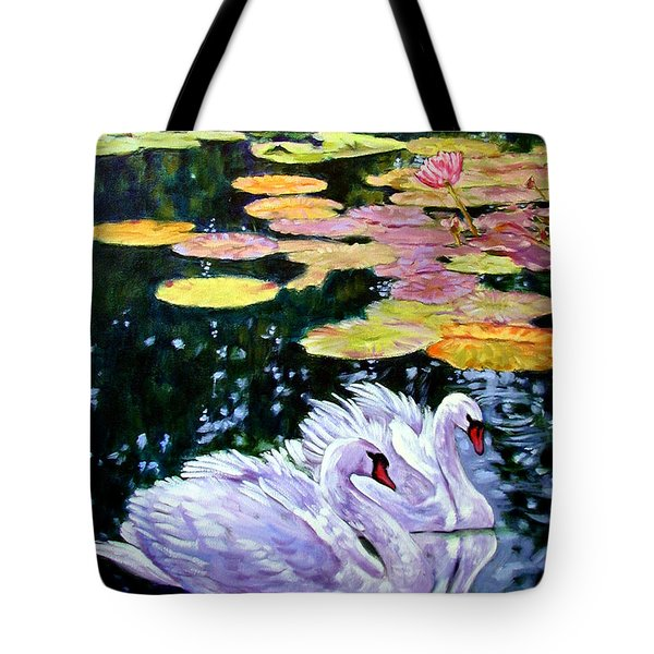 Two Swans In The Lilies Tote Bag by John Lautermilch