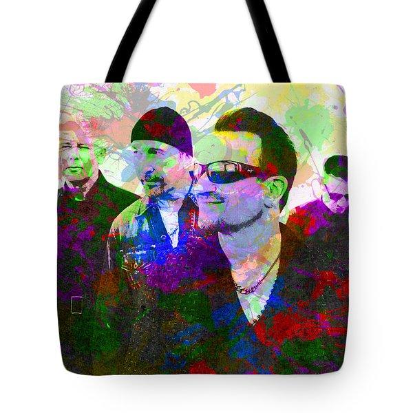 U2 Band Portrait Paint Splatters Pop Art Tote Bag by Design Turnpike