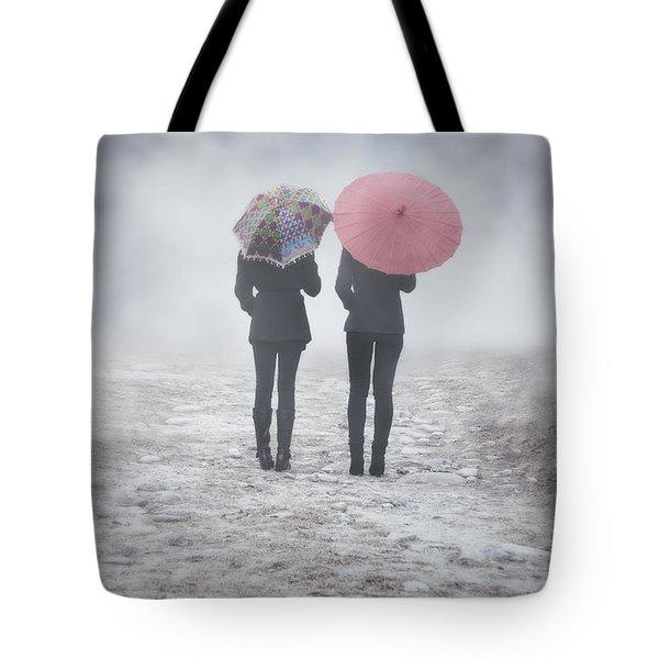 umbrellas in the mist Tote Bag by Joana Kruse
