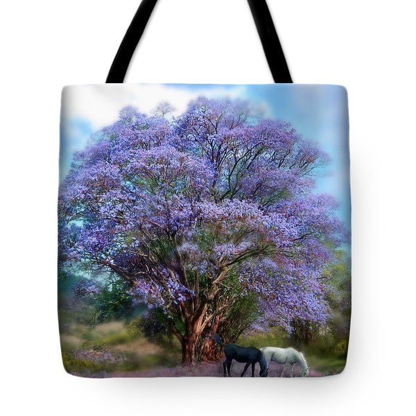 Under The Jacaranda Tote Bag by Carol Cavalaris