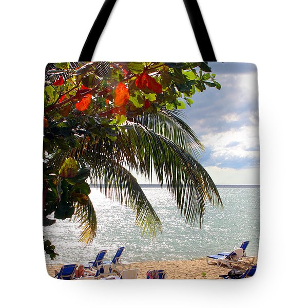 Under The Palms In Puerto Rico Tote Bag by Madeline Ellis