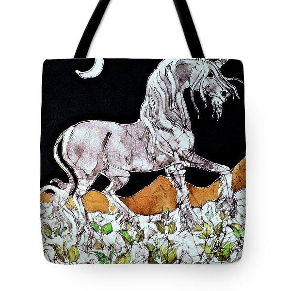 Unicorn Over Flower Field Tote Bag by Carol  Law Conklin
