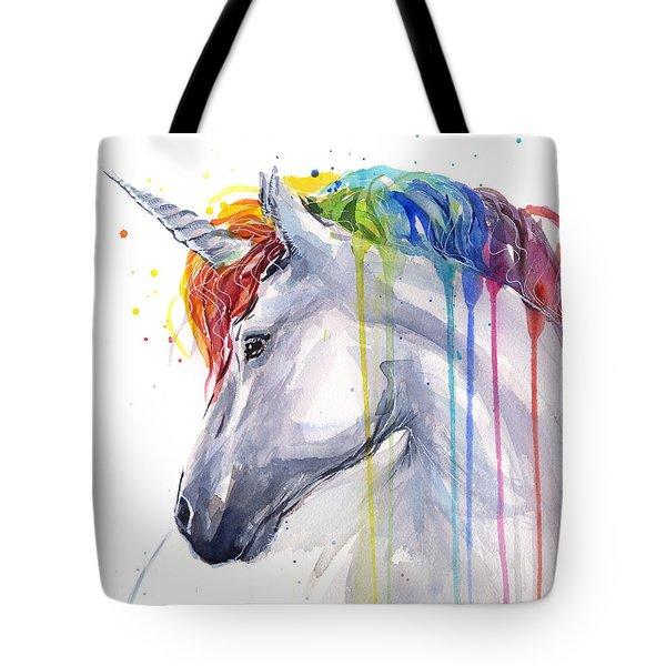Unicorn Rainbow Watercolor Tote Bag by Olga Shvartsur