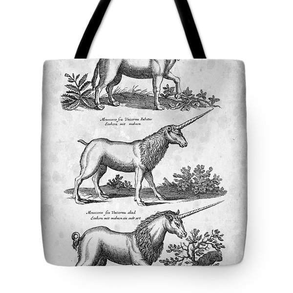 Unicorns 03 Historiae Naturalis 1657 Tote Bag by Aged Pixel
