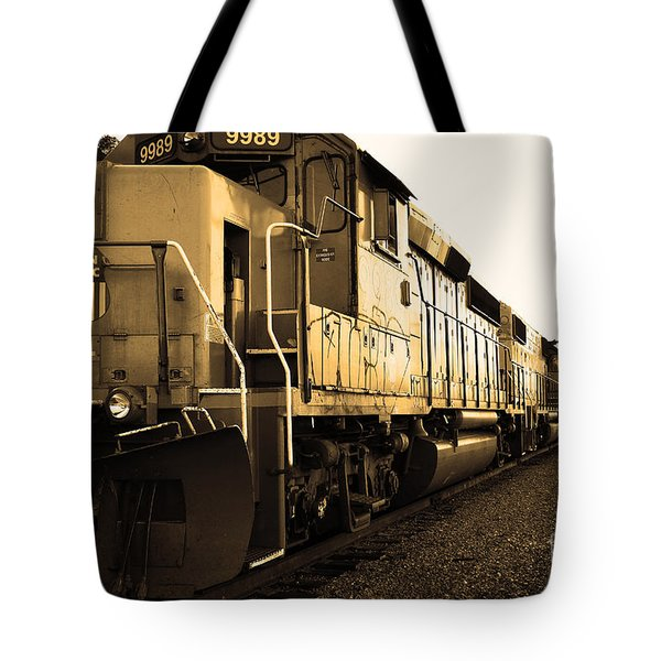 Union Pacific Locomotive Trains . 7d10588 . Sepia Tote Bag by Wingsdomain Art and Photography