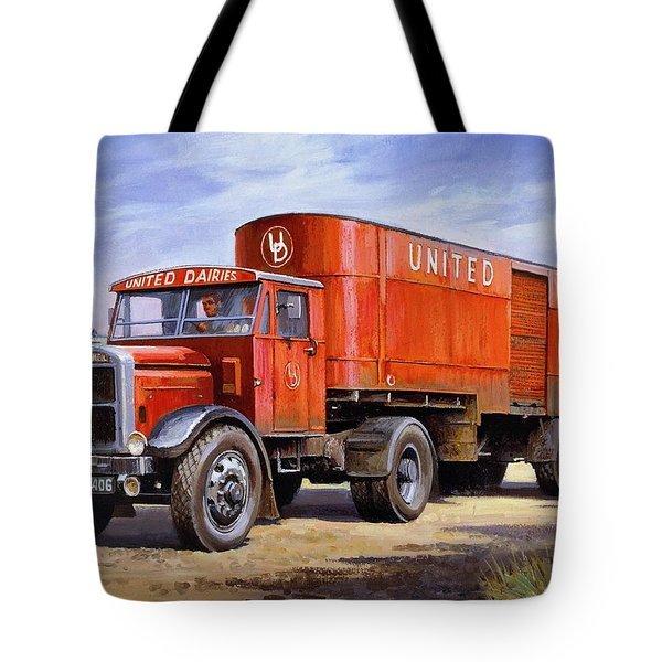 United Dairies Scammell. Tote Bag by Mike  Jeffries