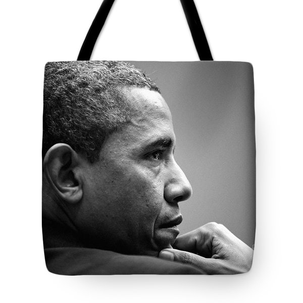 United States President Barack Obama Bw Tote Bag by Celestial Images