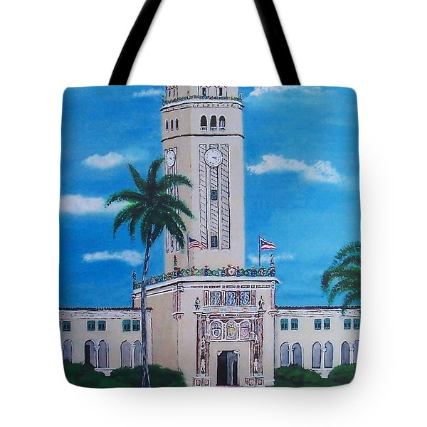 University Of Puerto Rico Tower Tote Bag by Luis F Rodriguez