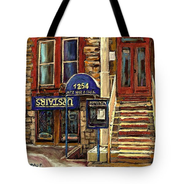 UPSTAIRS JAZZ BAR AND GRILL MONTREAL Tote Bag by CAROLE SPANDAU