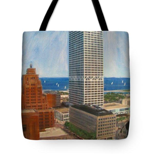 Us Bank And Sailboats Tote Bag by Anita Burgermeister