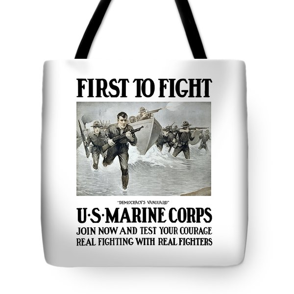 US Marine Corps - First To Fight  Tote Bag by War Is Hell Store
