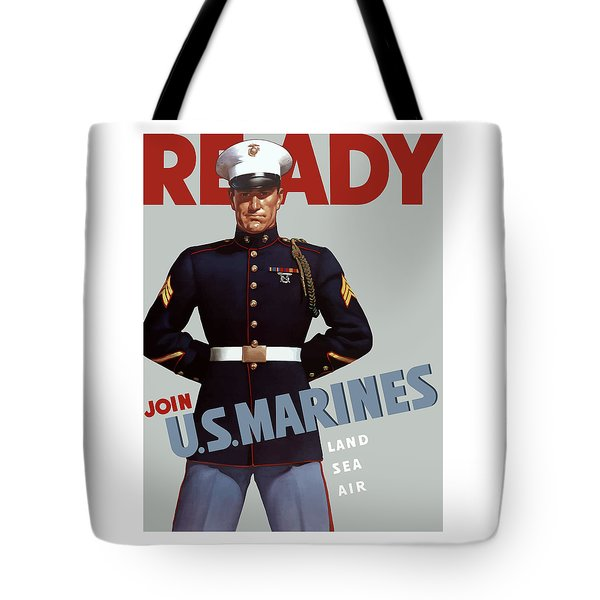 US Marines Ready Tote Bag by War Is Hell Store