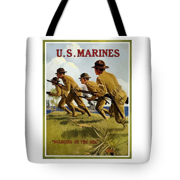 Us Marines - Soldiers Of The Sea Tote Bag by War Is Hell Store