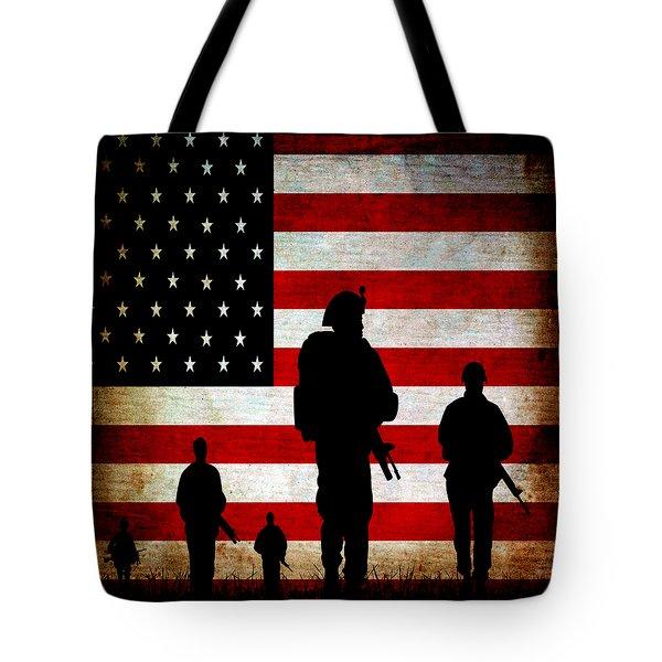 USA Military Tote Bag by Angelina Vick