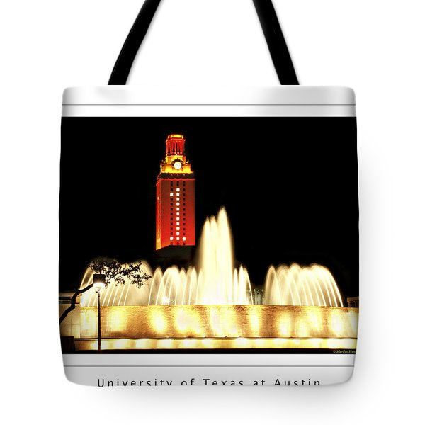 UT Tower Poster Tote Bag by Marilyn Hunt