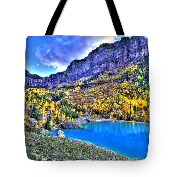 Valley Peak And Falls Tote Bag by Scott Mahon