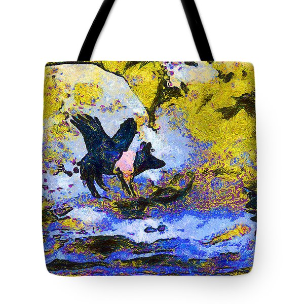 Van Gogh.s Flying Pig 3 Tote Bag by Wingsdomain Art and Photography