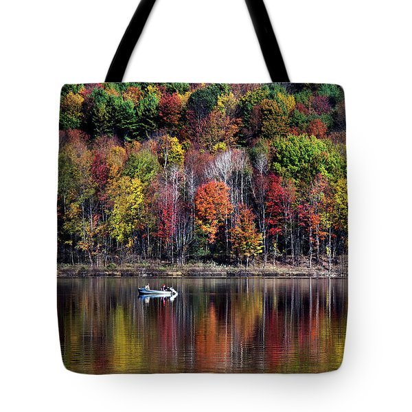 Vanishing Autumn Reflection Landscape Tote Bag by Christina Rollo