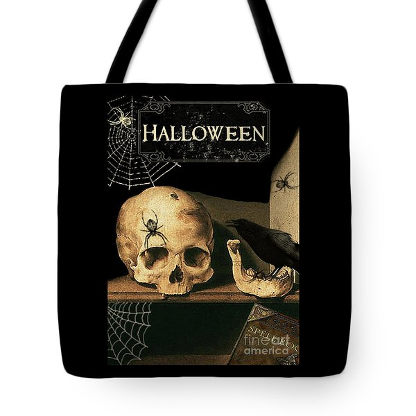 Vanitas Skull And Raven Tote Bag by Striped Stockings Studio