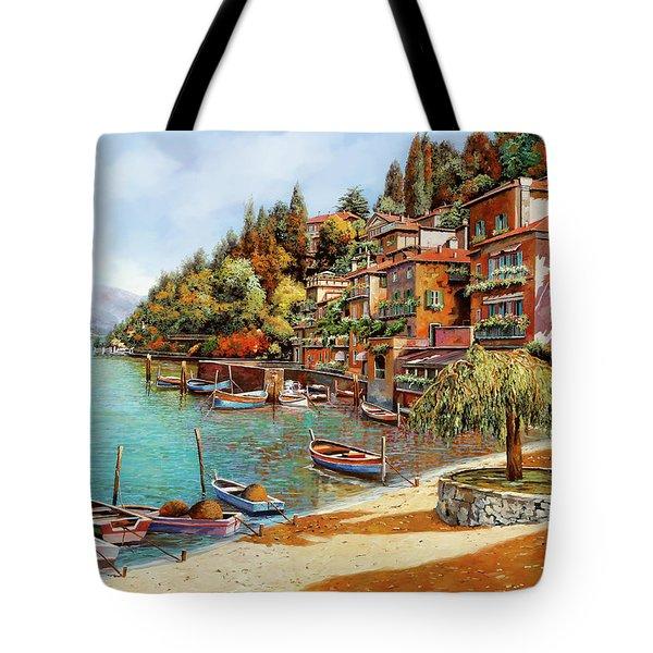 Varenna On Lake Como Tote Bag by Guido Borelli