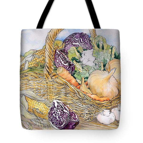 Vegetables In A Basket Tote Bag by Joan Thewsey