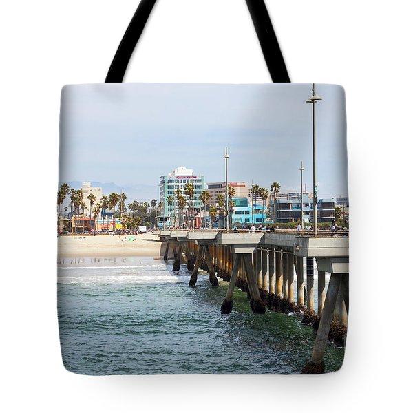 Venice Beach From The Pier Tote Bag by Ana V Ramirez