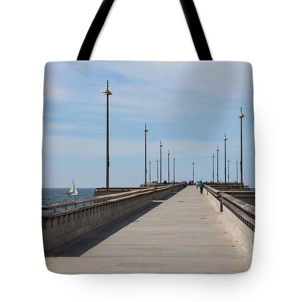 Venice Beach Pier Tote Bag by Ana V Ramirez