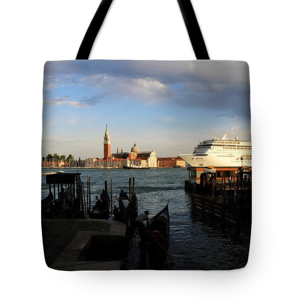 Venice Cruise Ship Tote Bag by Andrew Fare