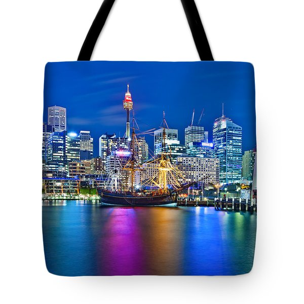 Vibrant Darling Harbour Tote Bag by Az Jackson