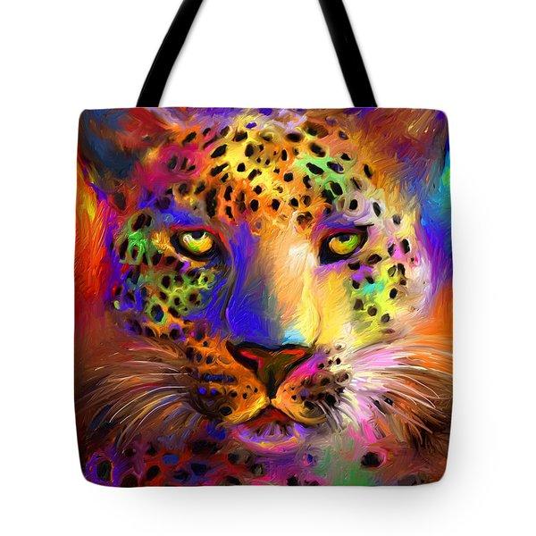 Vibrant Leopard Painting Tote Bag by Svetlana Novikova