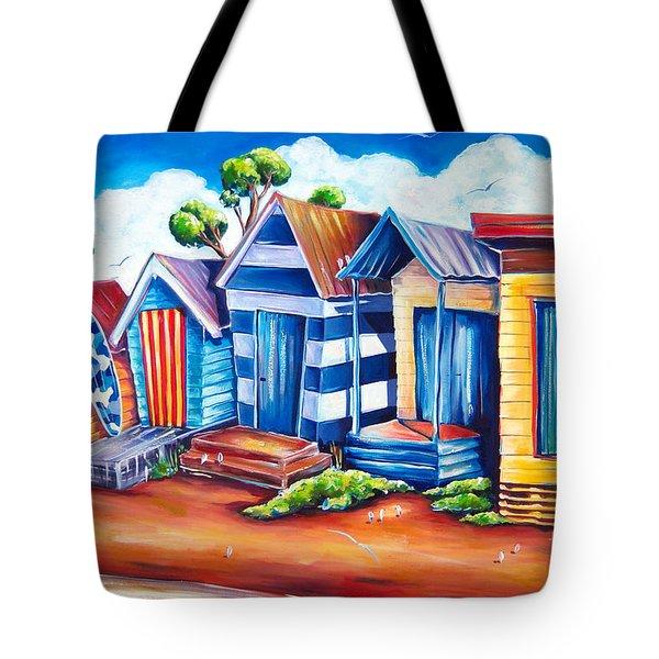 Victorian Beach Huts Tote Bag by Deb Broughton