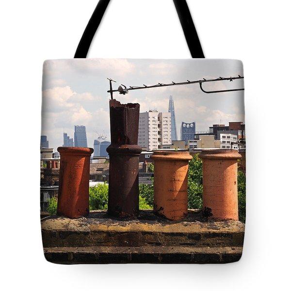 Victorian London Chimney Pots Tote Bag by Rona Black