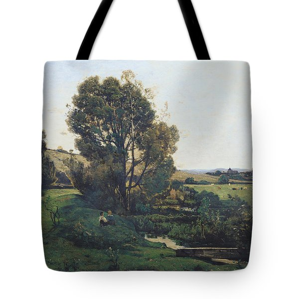 View From Moncel-sur-seine Tote Bag by Henri-Joseph Harpignies