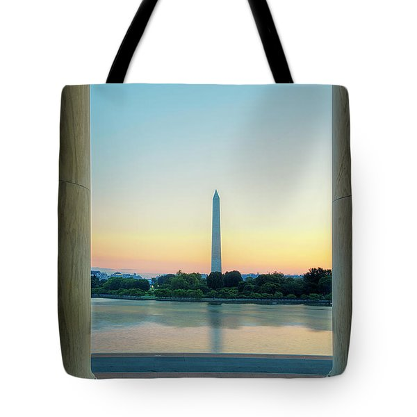 View From The Jefferson Memorial Tote Bag by Andrew Soundarajan