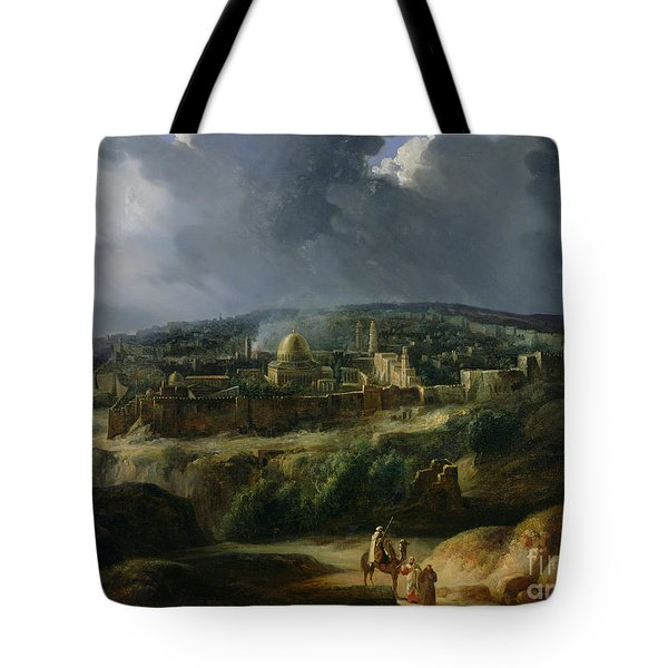 View Of Jerusalem From The Valley Of Jehoshaphat Tote Bag by Auguste Forbin