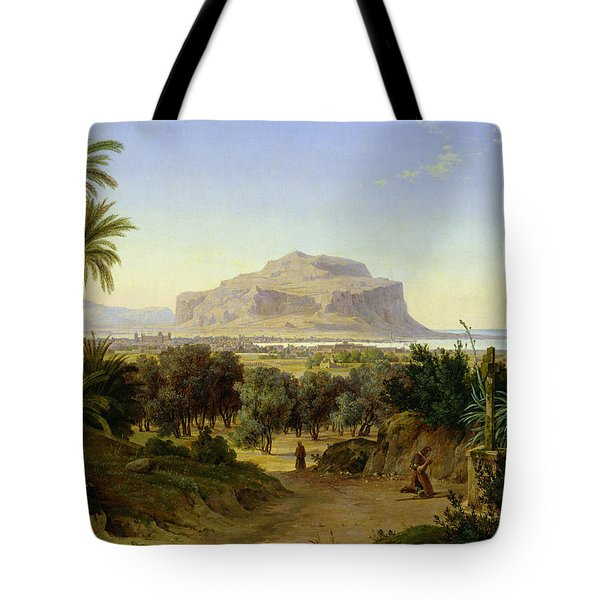 View Of Palermo With Mount Pellegrino Tote Bag by August Wilhelm Julius Ahlborn