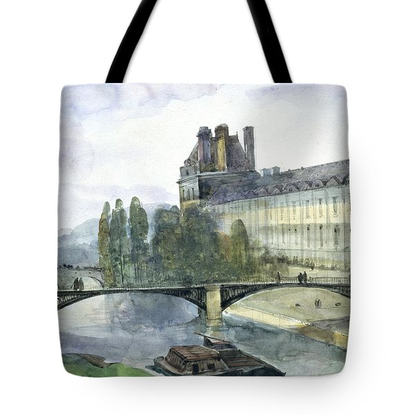 View Of The Pavillon De Flore Of The Louvre Tote Bag by Francois-Marius Granet