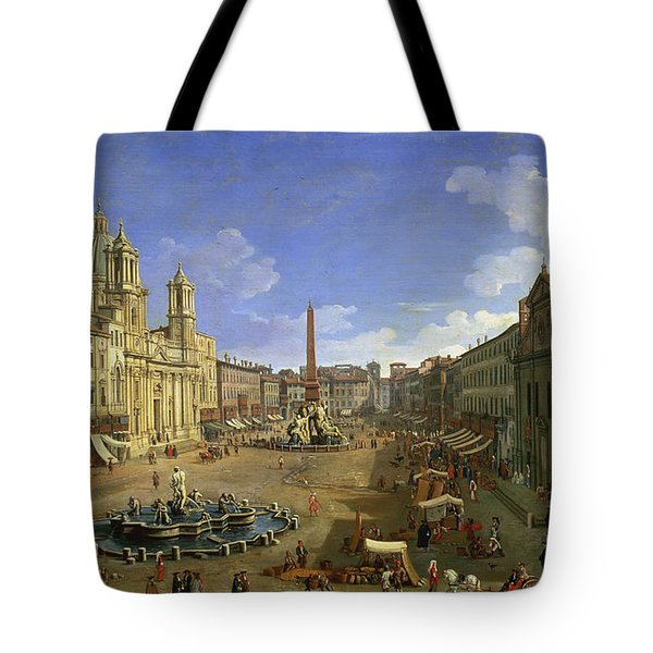 View Of The Piazza Navona Tote Bag by Canaletto