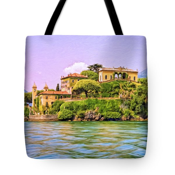 Villa on Lake Como Tote Bag by Dominic Piperata