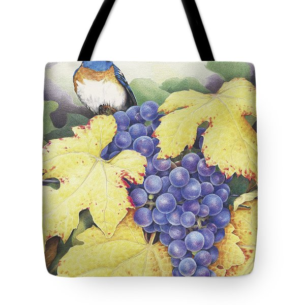 Vineyard Blue Tote Bag by Amy S Turner