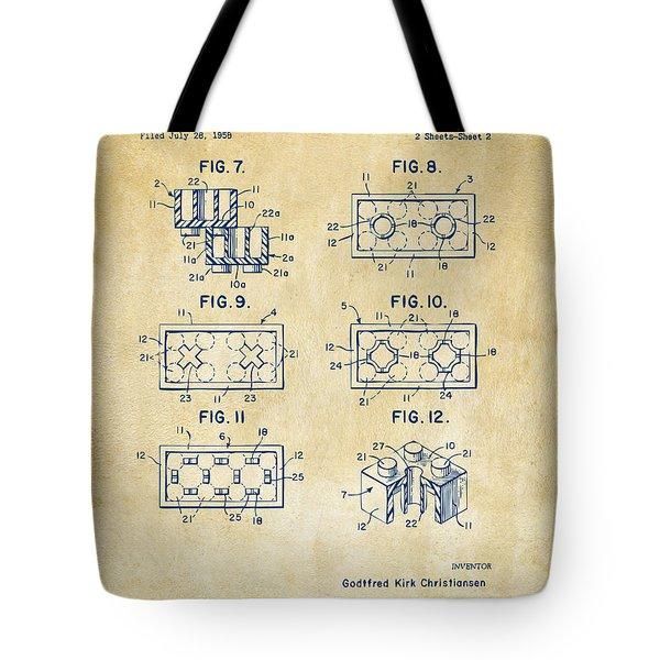 Vintage 1961 Lego Brick Patent Art Tote Bag by Nikki Marie Smith