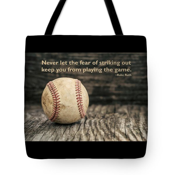 Vintage Baseball Babe Ruth Quote Tote Bag by Terry DeLuco